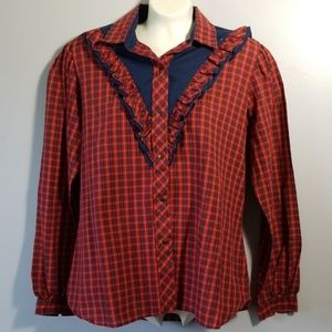 Kenny Rogers Western Collection Vintage Plaid Top